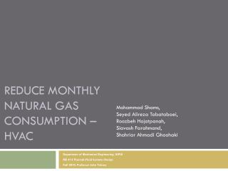 Reduce Monthly  Natural Gas  Consumption –  HVAC