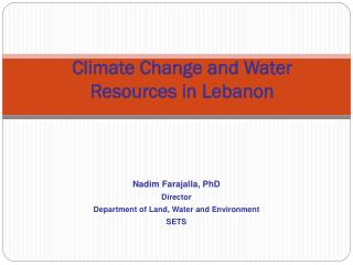 Climate Change and Water Resources in Lebanon