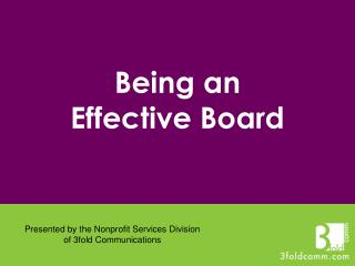 Being an Effective Board