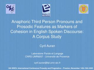 anaphoric third person pronouns and prosodic features as markers ...