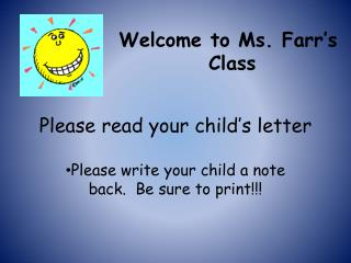 Please read your child's letter