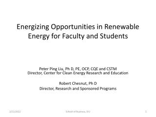 Energizing Opportunities in Renewable Energy for Faculty and Students
