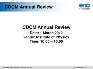 CDCM Annual Review