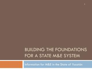 Building the foundations for a state M&E system