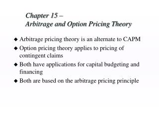 chapter 15    arbitrage and option pricing theory