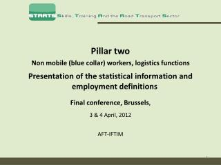 Pillar two  Non mobile  (blue collar) workers, logistics functions Presentation of the statistical information and empl