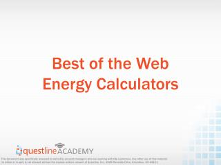 Best of the Web Energy Calculators