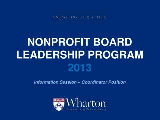 Nonprofit Board Leadership Program  2013