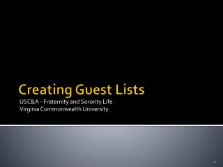 Creating Guest Lists