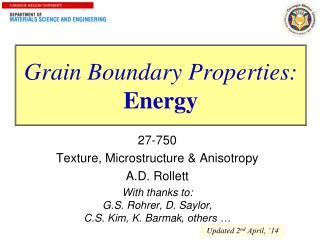 Grain Boundary Properties: Energy