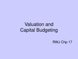 valuation and  capital budgeting        rwj chp 17