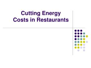 cutting energy costs in restaurants