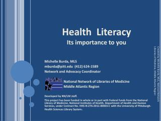 Health  Literacy  Its importance to you