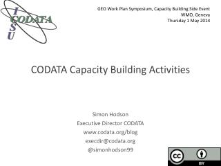 CODATA Capacity  Building Activities