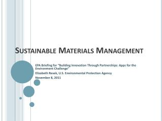 Sustainable Materials Management