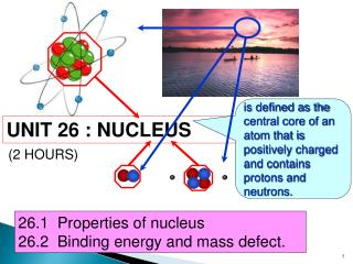 26.1  Properties of nucleus 26.2  Binding energy and mass defect.