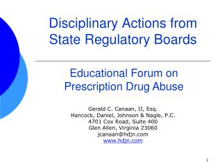 Disciplinary Actions from  State Regulatory Boards