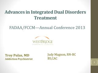Advances  in Integrated Dual Disorders Treatment