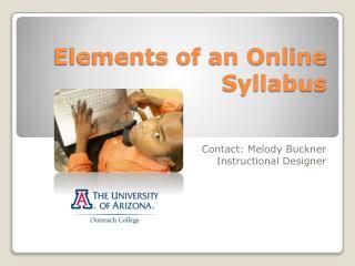 Elements of an Online Syllabus