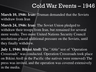 Cold War Events � 1946