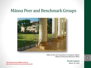 Mānoa Peer and Benchmark Groups