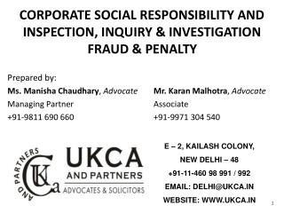 CORPORATE SOCIAL RESPONSIBILITY AND  INSPECTION, INQUIRY & INVESTIGATION  FRAUD & PENALTY Prepared by:
