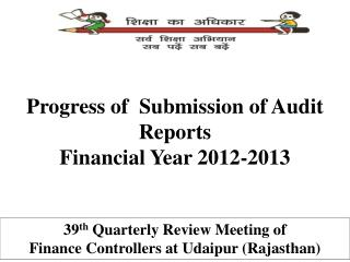 Progress of  Submission of Audit Reports  Financial Year 2012-2013