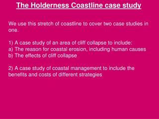 The Holderness  Coastline case study