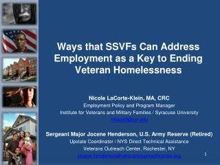 Ways that SSVFs Can Address Employment as a Key to Ending Veteran Homelessness