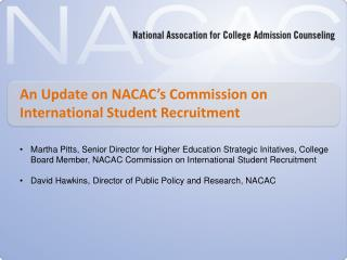 An Update on NACAC's Commission on International Student Recruitment