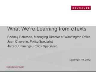 What We're Learning from eTexts