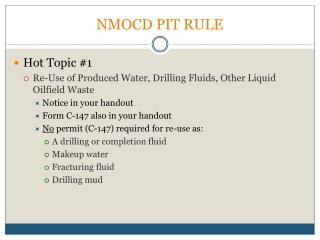 NMOCD PIT RULE