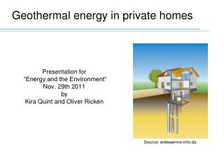 Geothermal  energy  in private  homes