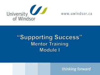 """Supporting Success"" Mentor Training Module I"