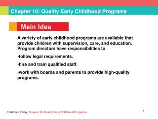 Chapter 10: Quality Early Childhood Programs