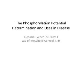 The Phosphorylation Potential Determination and Uses in Disease