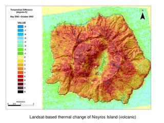 Landsat-based thermal change of Nisyros Island (volcanic)
