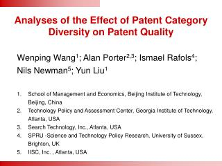 Analyses of the Effect of Patent Category Diversity on Patent Quality