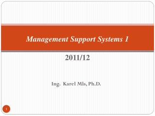 Management Support  Systems  1 2011/12