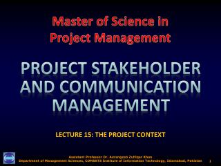 LECTURE 15: THE PROJECT CONTEXT