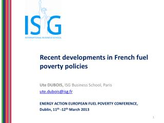 Recent developments in French fuel poverty policies