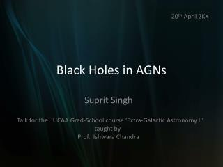 Black Holes in AGNs