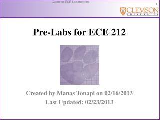 Pre-Labs for ECE 212