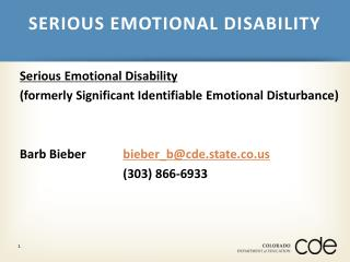 SERIOUS EMOTIONAL DISABILITY
