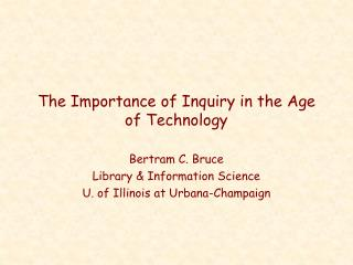 the importance of inquiry in the age of technology