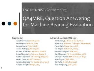 TAC 2011, NIST,  Gaithersburg QA4MRE,  Question Answering for  Machine Reading  Evaluation
