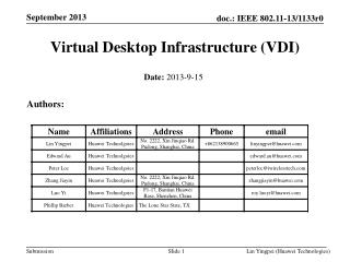 Virtual Desktop Infrastructure ( VDI)