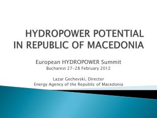 HYDROPOWER POTENTIAL IN REPUBLIC OF MACEDONIA