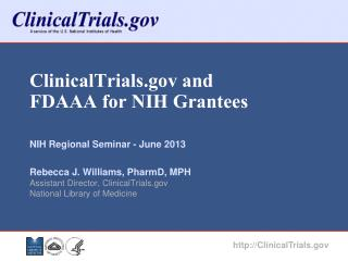 ClinicalTrials.gov and FDAAA for NIH Grantees