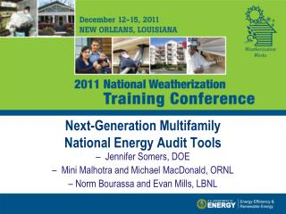 Next-Generation Multifamily  National Energy Audit Tools